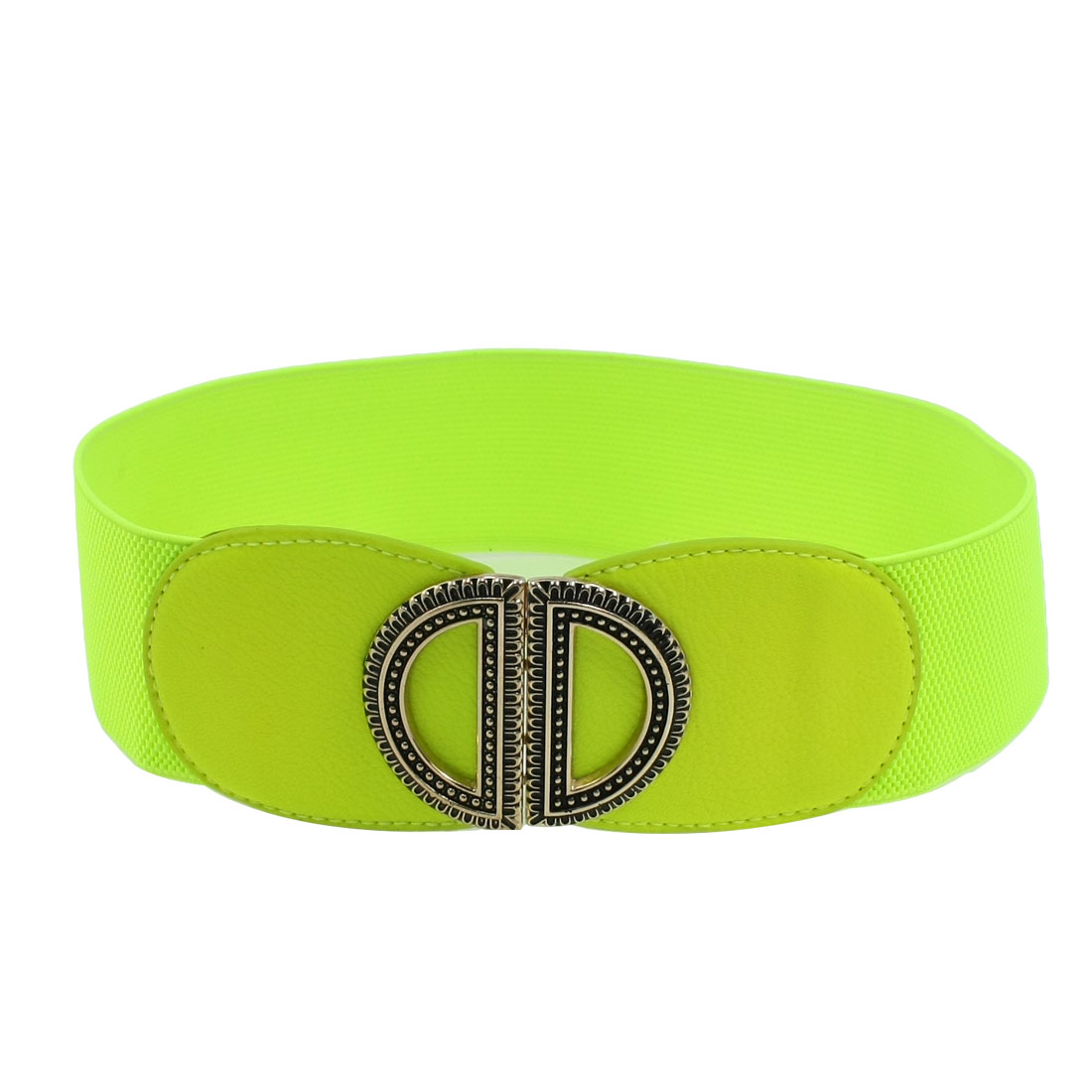 Metal Dual D Interlocking Buckle Yellow Green Elastic Waist Belt for Ladies