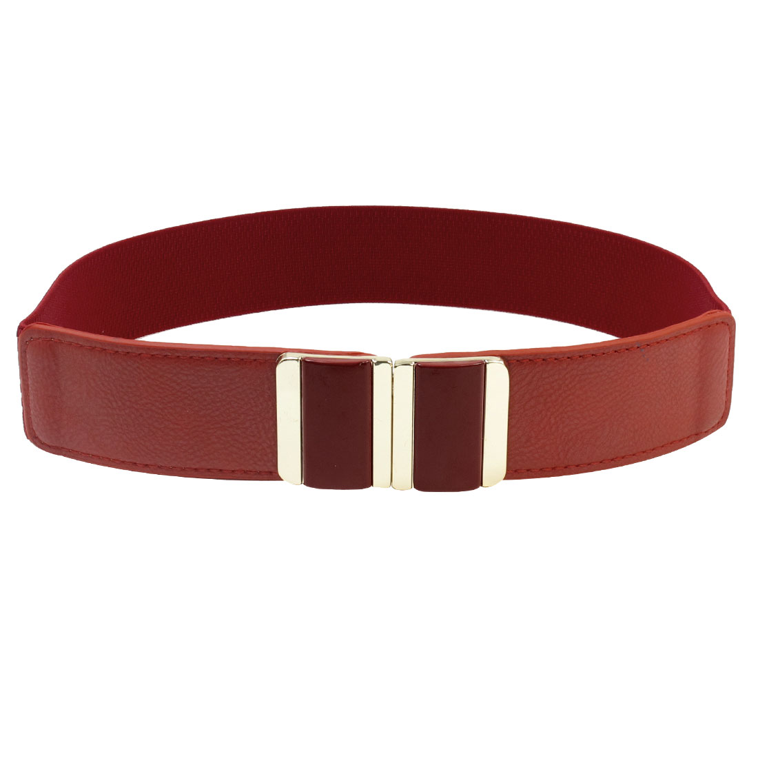 Lady Faux Leather Double Retangle Interlocking Buckle Waist Band Belt Red