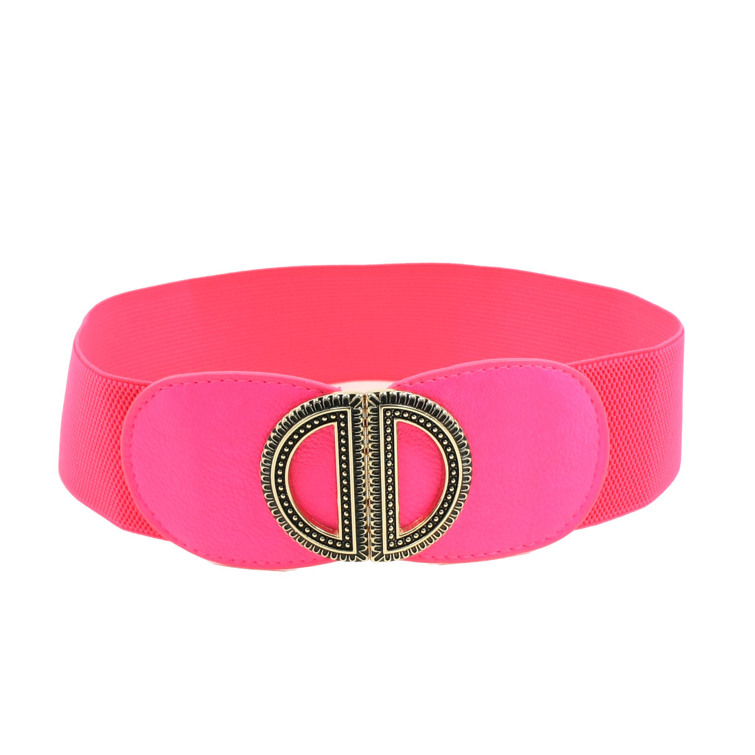 Metal Dual D Interlocking Buckle Fuchsia Elastic Waist Cinch Belt for Ladies