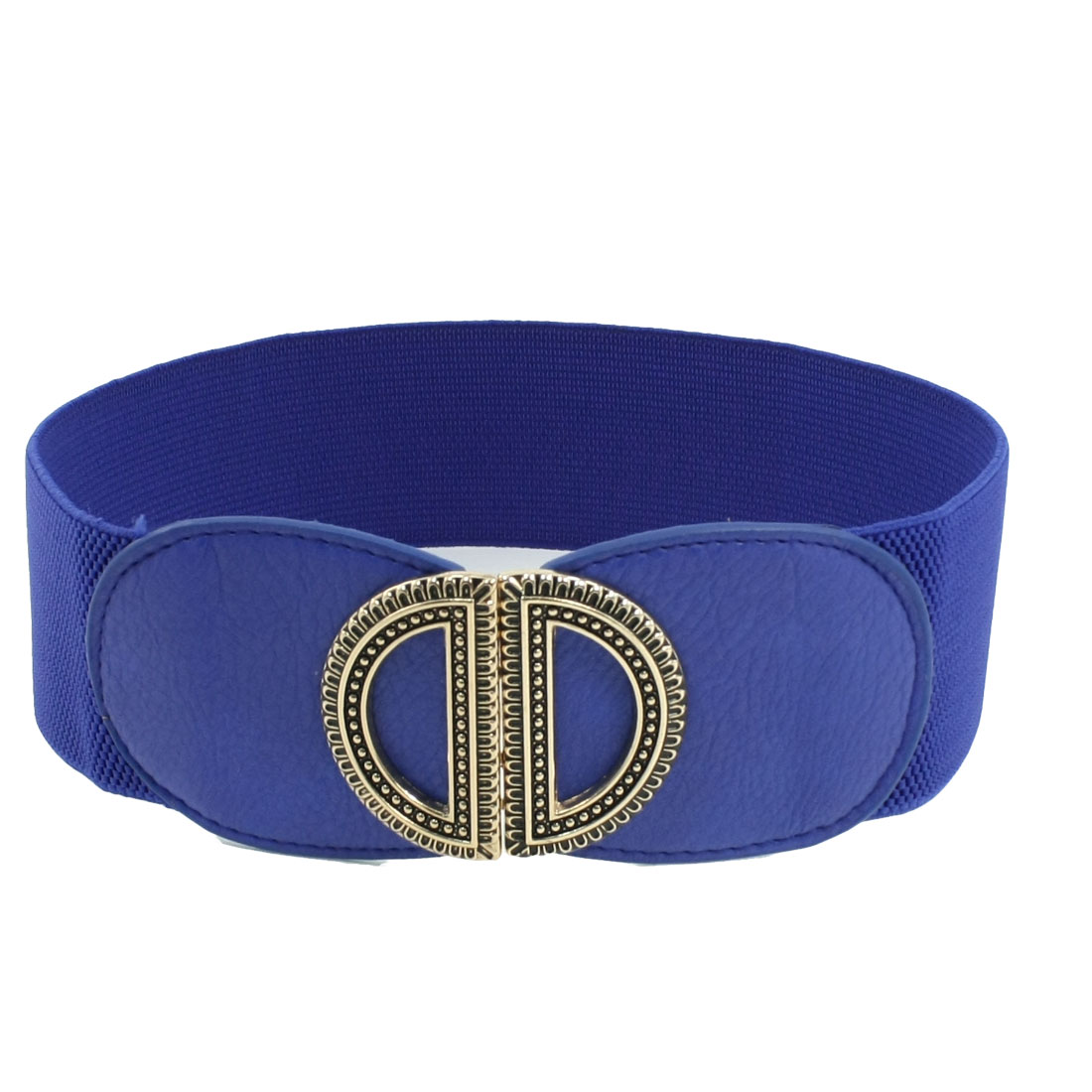 Metal Dual D Interlocking Buckle Blue Elastic Waist Cinch Belt for Ladies