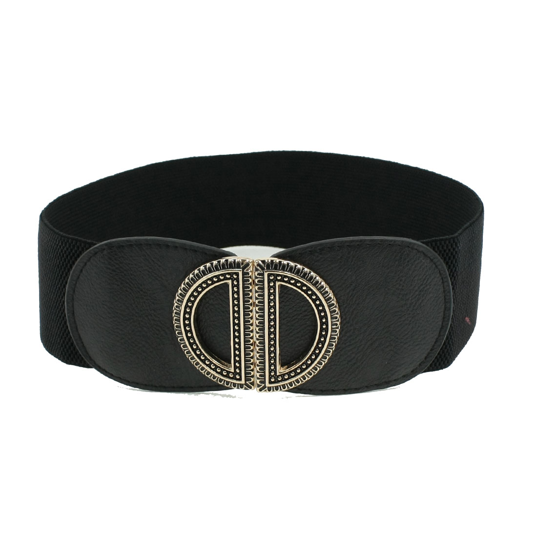 Ladies Lady Double D Metal Interlock Buckle Black Textured Elastic Cinch Belt