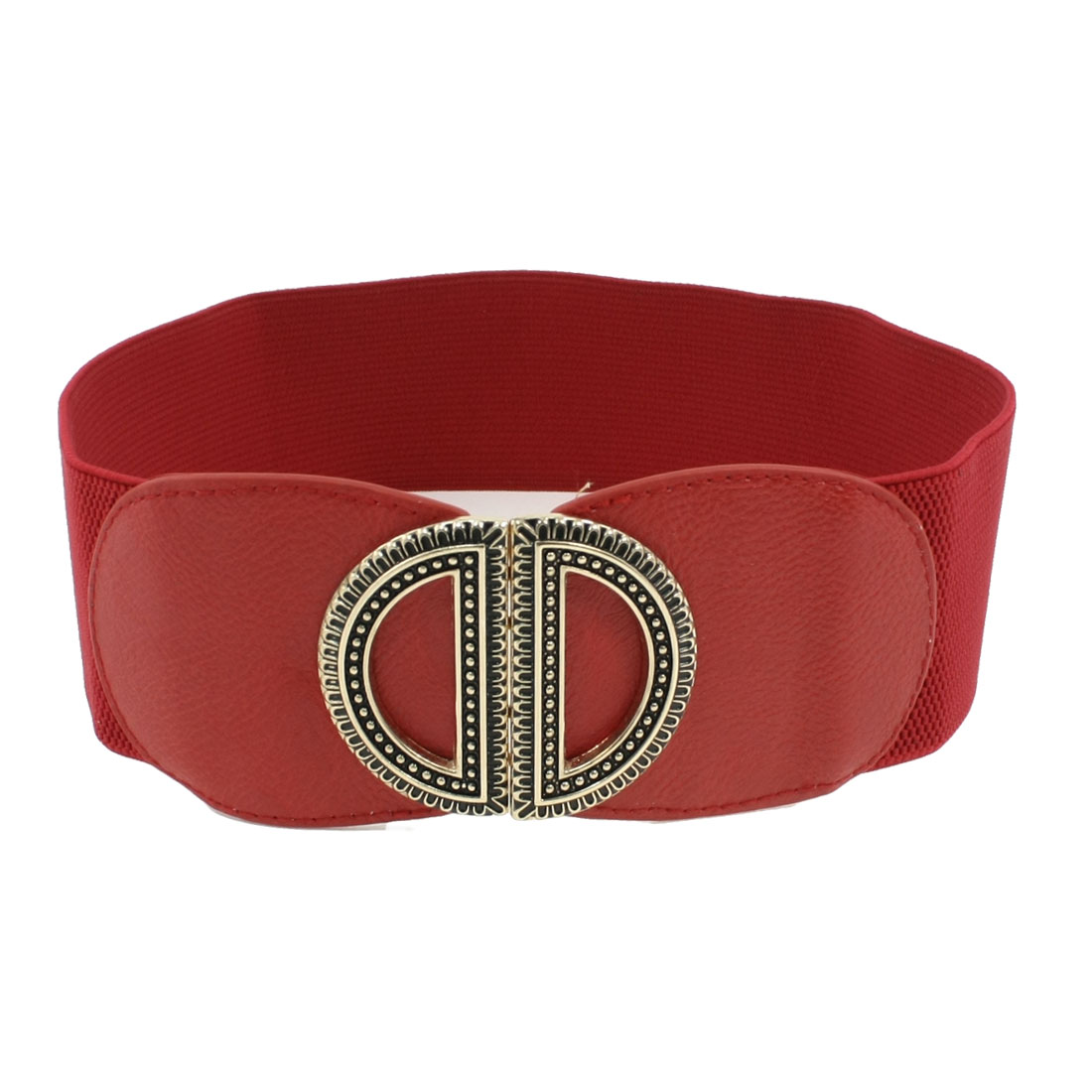 Women Red Faux Leather Double D Interlock Buckle Stretchy Waist Belt Band