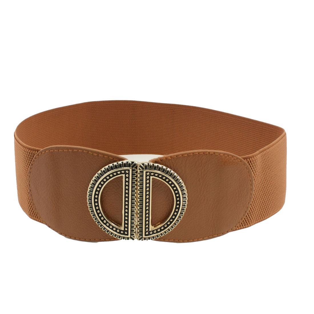 Metal Dual D Interlocking Buckle Brown Elastic Waist Belt for Ladies