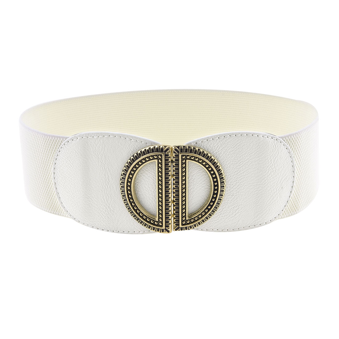 Women White Faux Leather Double D Interlock Buckle Stretchy Waist Belt Band