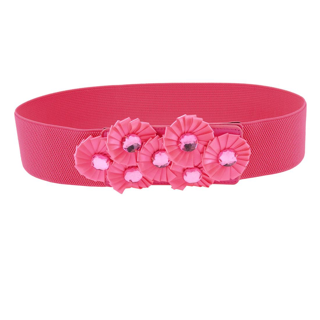 Ladies Hot Pink Florals Accent Elastic Waist Belt Textured Waistband 6CM Wide