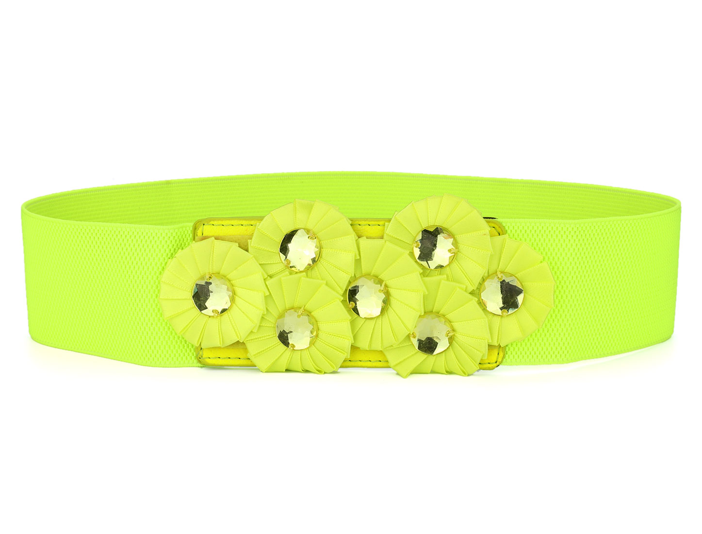 Women Press Stud Button Yellowgreen Faux Crystals Inlaid Florals Stretchy Waist Belt