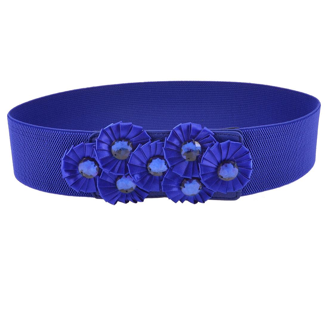 Press Stud Button Blue Flowers Faux Crystals Decor Cinch Waist Belt for Women