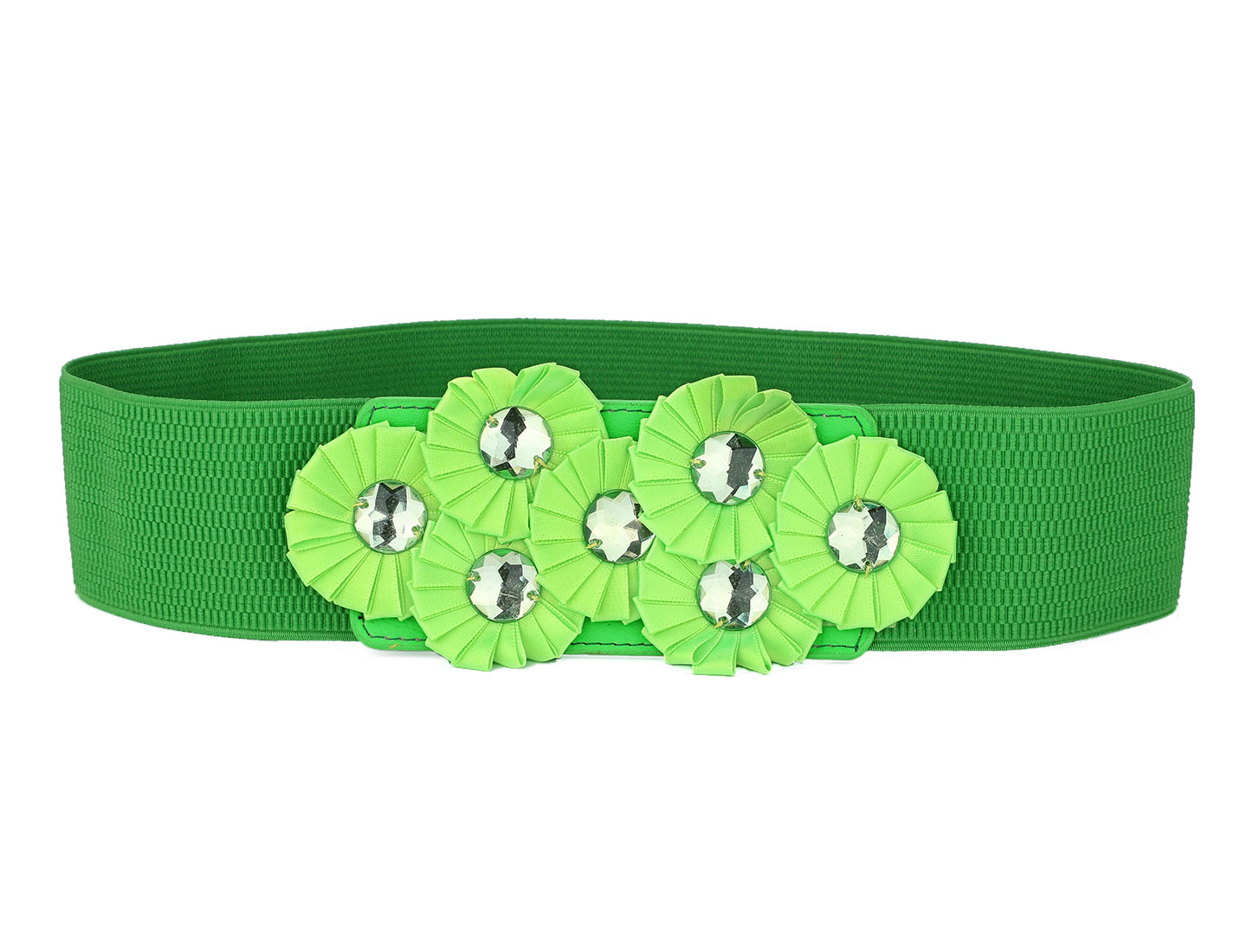 Lady Flowers Accent Buckle Green Elastic Fabric Waistbelt Cinch Belt