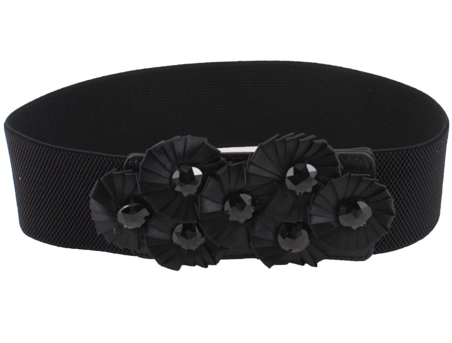 Lady Flowers Accent Buckle Black Elastic Fabric Waistbelt Waist Belt