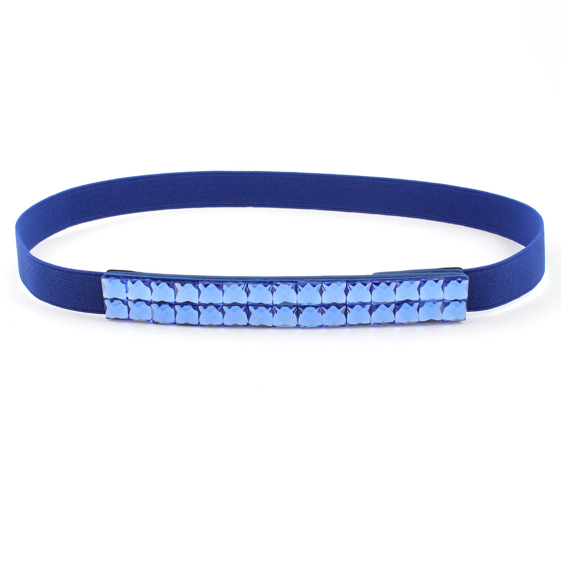 Faux Crystal Accent Press Stud Buckle Stretched Waist Belt Dark Blue for Ladies