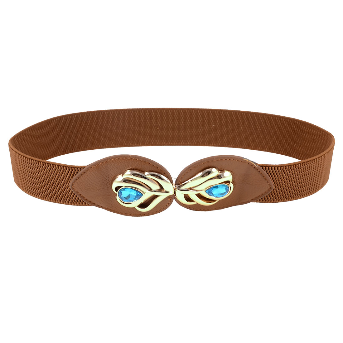 Women Faceted Crystal Peacock Feather Decor Brown Elastic Waist Belt Band