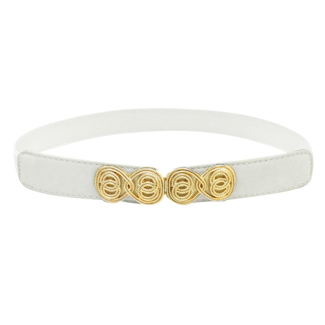 White Textured Elastic Band Interlocking Buckle Waist Belt