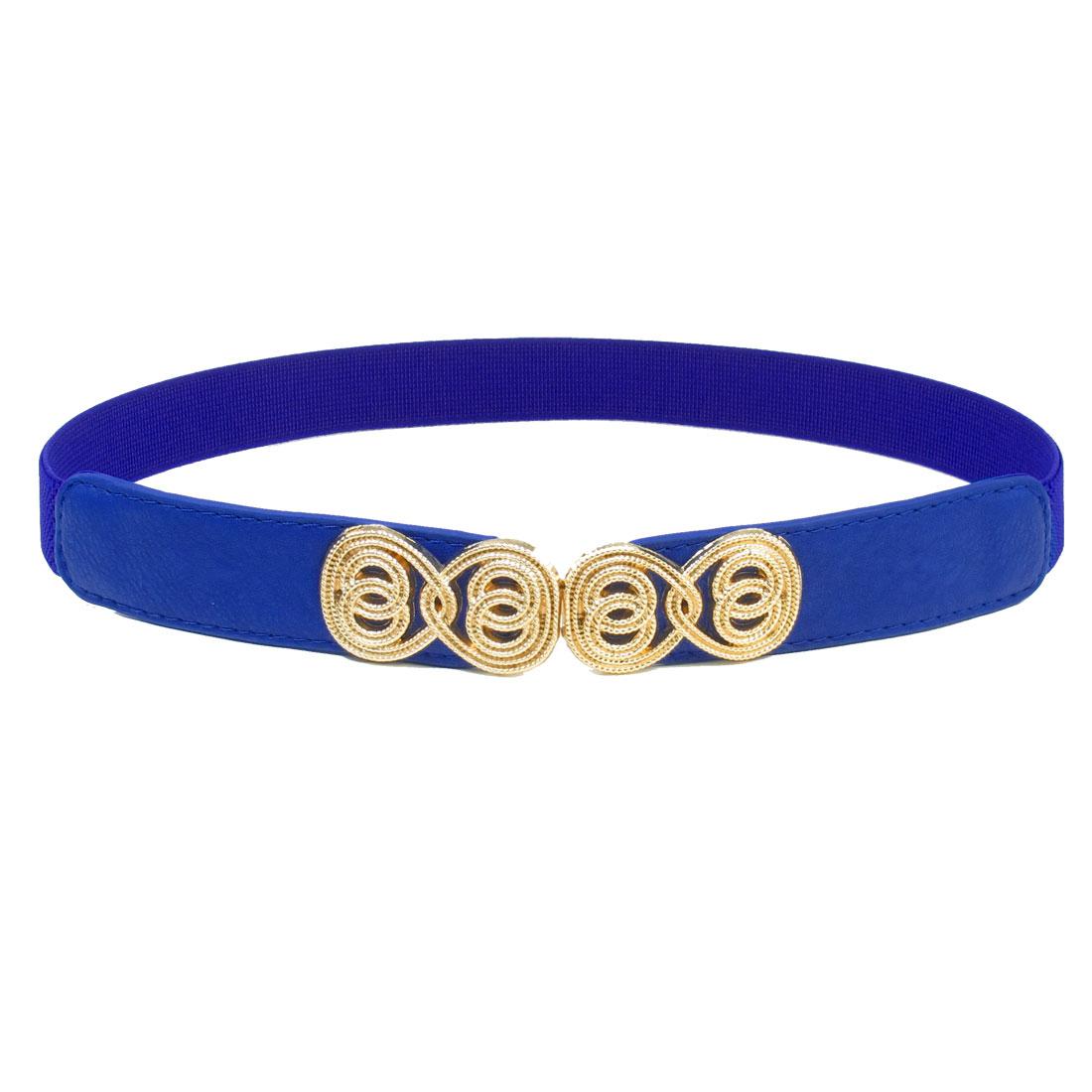 Gold Tone Metalic Detail Heart Interlocking Buckle Belt for Lady Blue