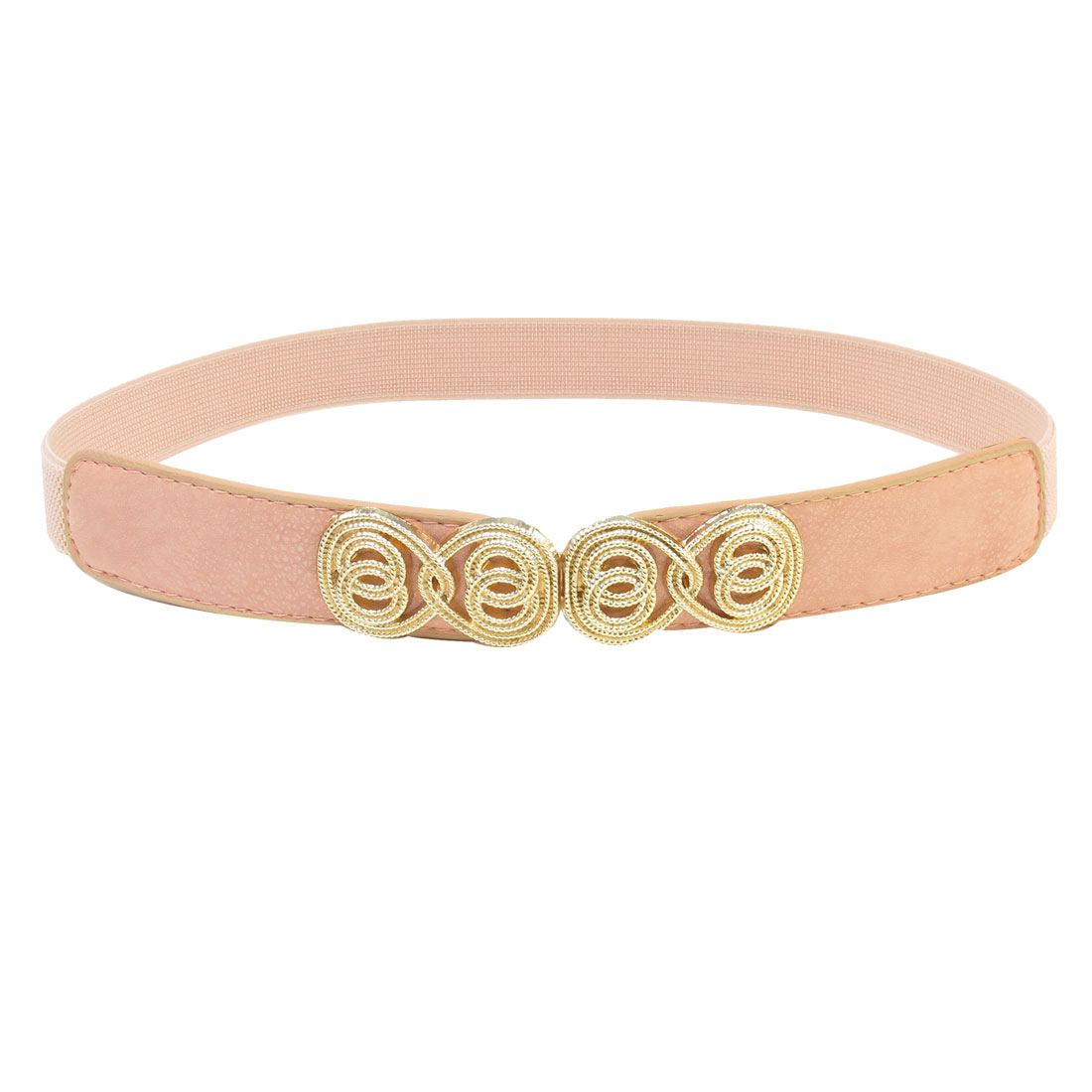 Pale Pink Faux Leather Interlocking Buckle Stretched Belt for Women