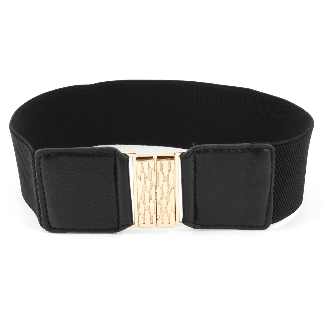 Gold Tone Metal Buckle Black Elastic Band Cinch Belt for Woman