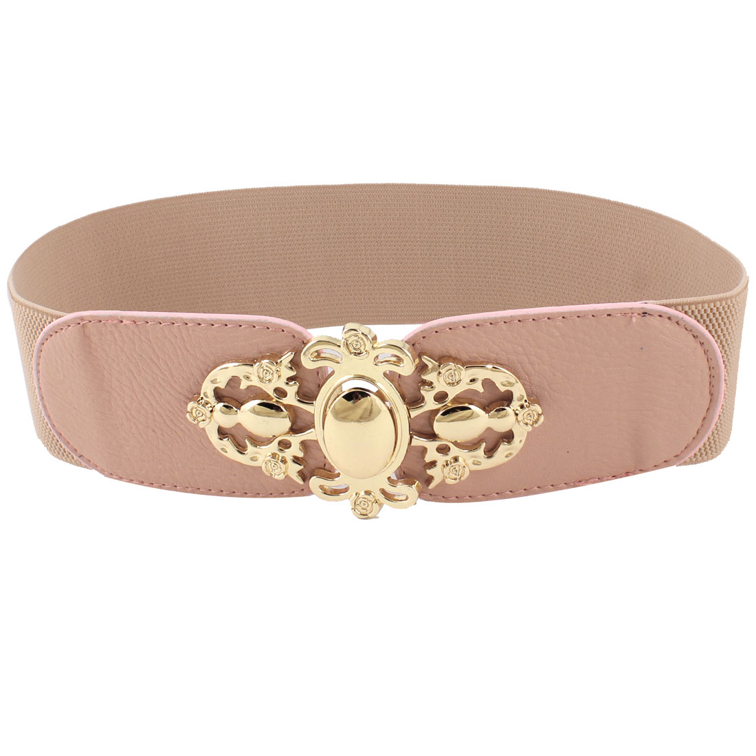 Ladies Interlock Buckle 6cm Width Cut Off Floral Decor Elastic Belt Peach Color