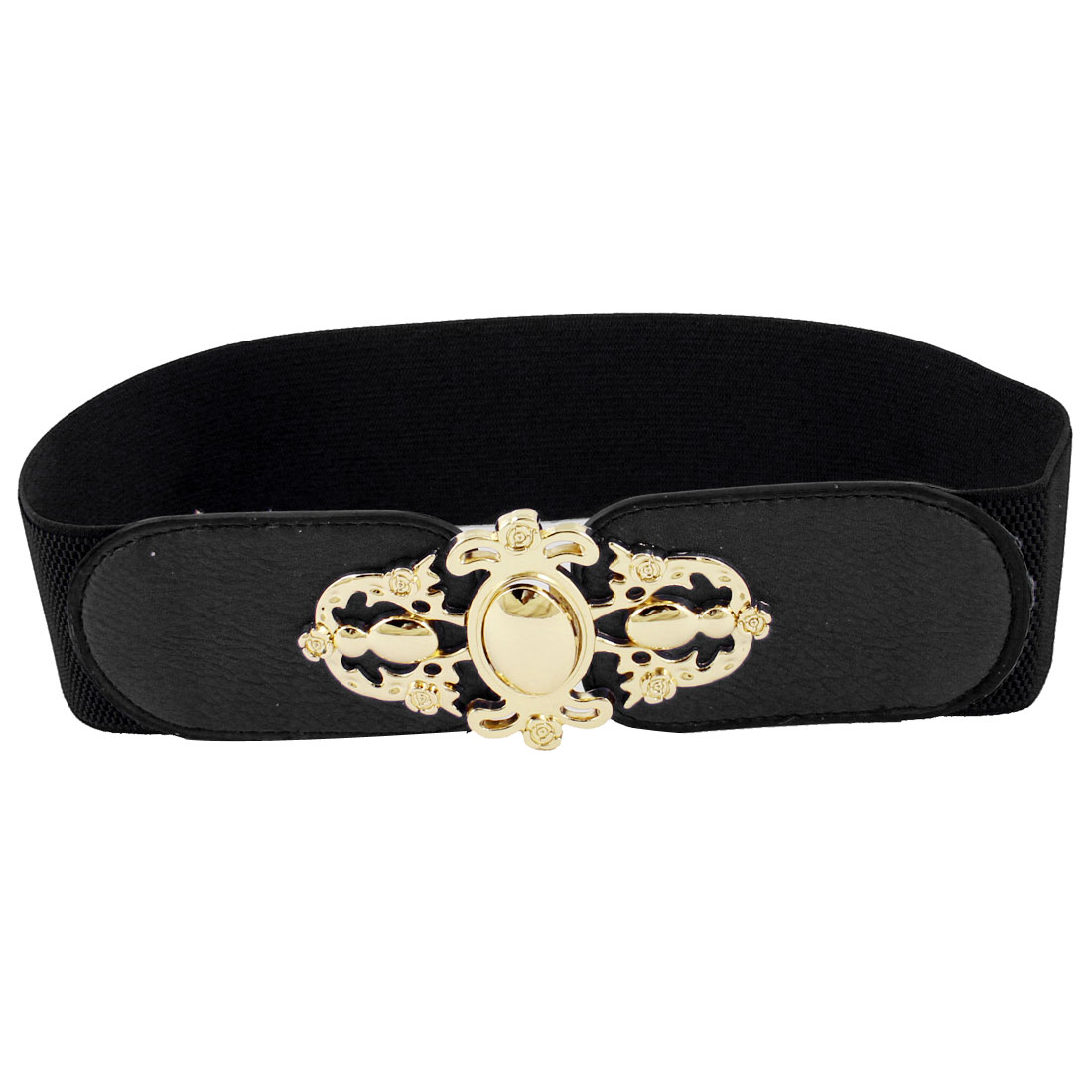 Women Interlocking Buckle Faux Leather Cut Off Flower Stretchy Belt Black