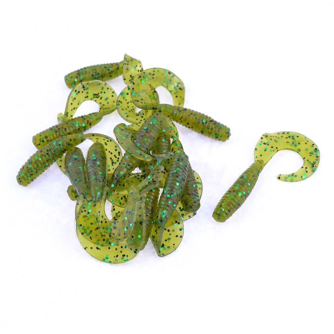 Glitter Decor Worm Design Silicone Fishing Soft Lures Baits Yelllow 14 Pcs