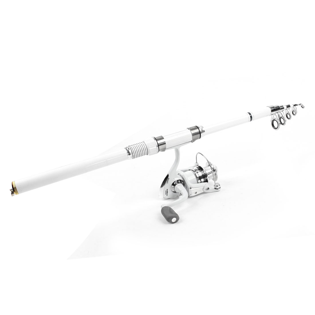 8 in 1 Fish Bobbers Fishooks Alert Bell 7.9 Ft Fishing Pole White Set