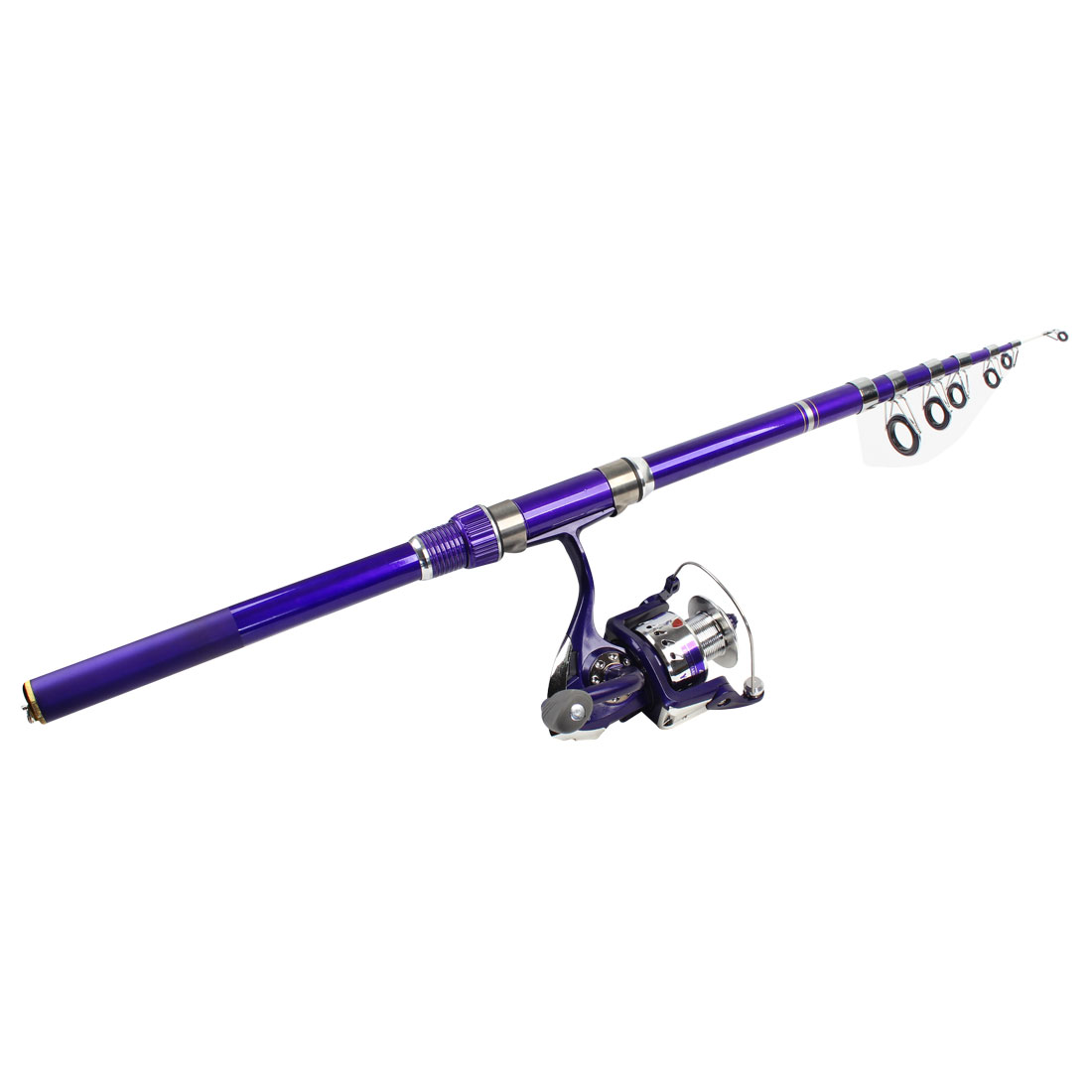 8 in 1 Fish Bobbers Fishooks Alert Bell 2.6m Fishing Pole Purple Set
