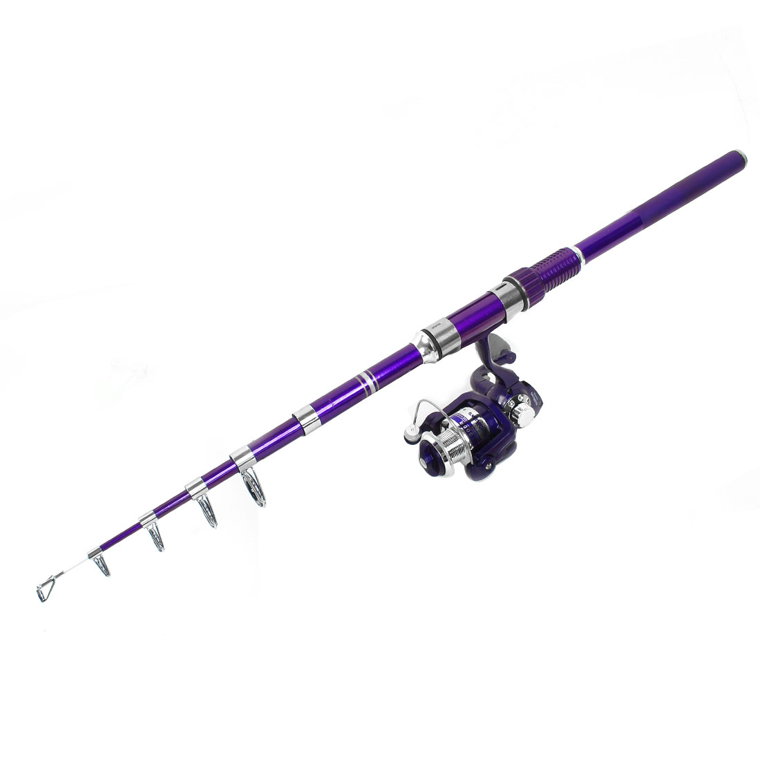 8 in 1 Fish Bobbers Fishooks Alert Bell 6.2 Ft Fishing Pole Purple Set