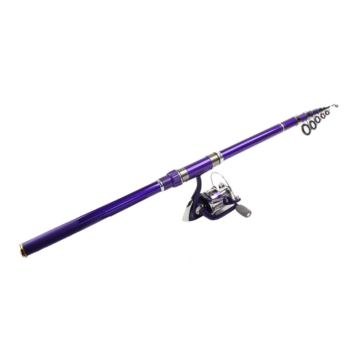 8 in 1 Fishhooks Fish Sinkers Alert Bell Telescopic Fishing Pole Rod Purple Set