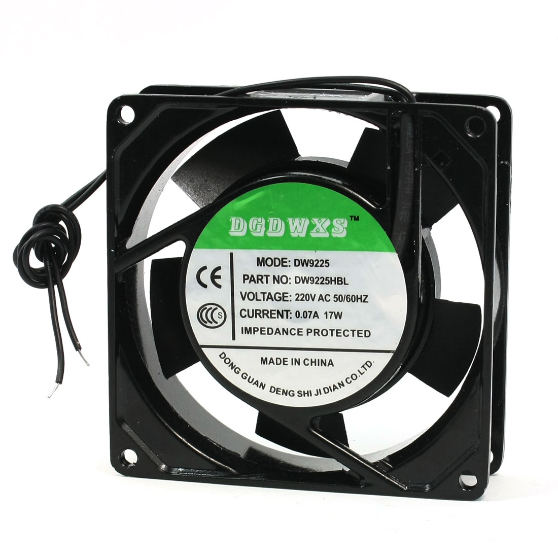 92x92x25mm Plastic Vanes Metal Frame Axial Flow Cooling Fan AC 220V 0.07A 17W