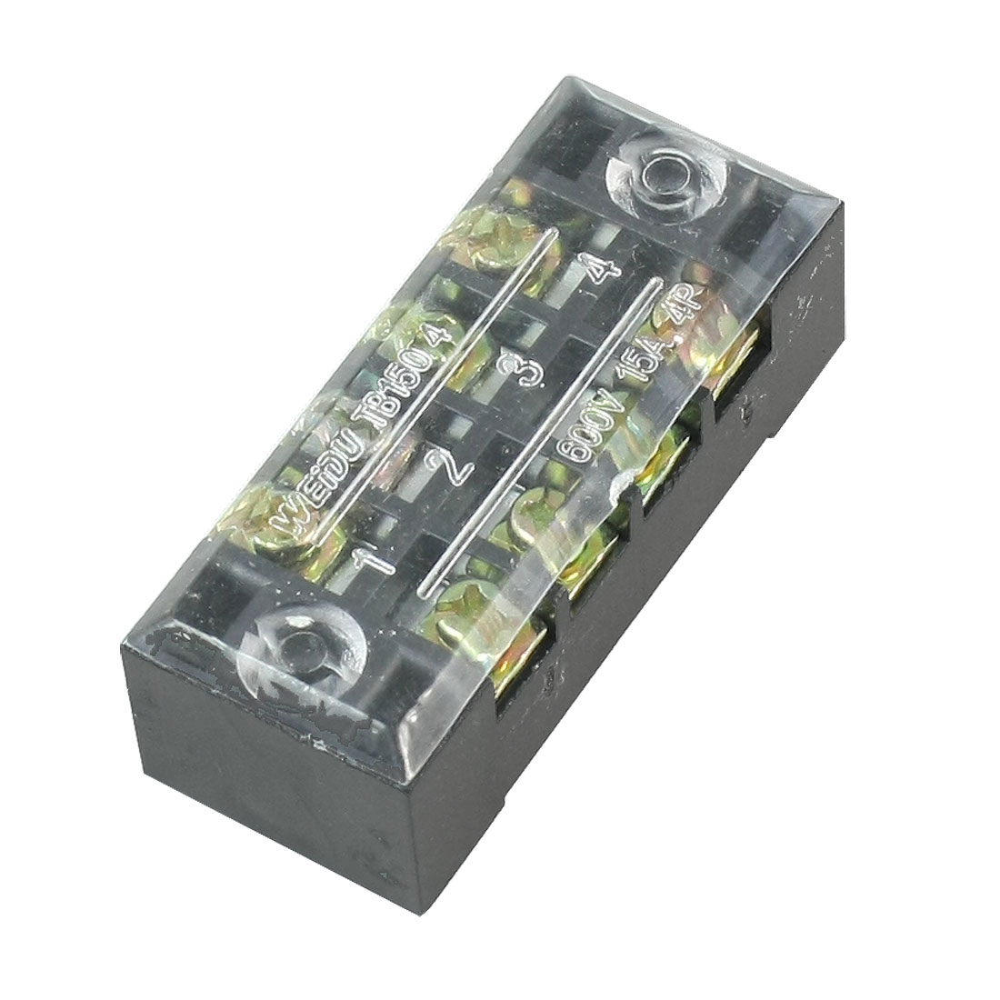 600V 15A Double Rows 4P 4 Positions Covered Barrier Screw Terminal Block