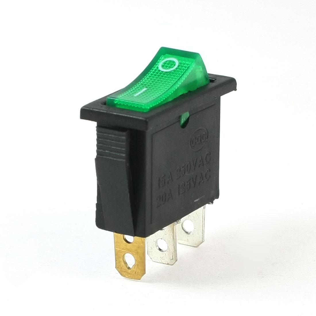 AC 250V/16A 125V/20A 3 Pins SPST I/O Green Light Snap in Boat Rocker Switch