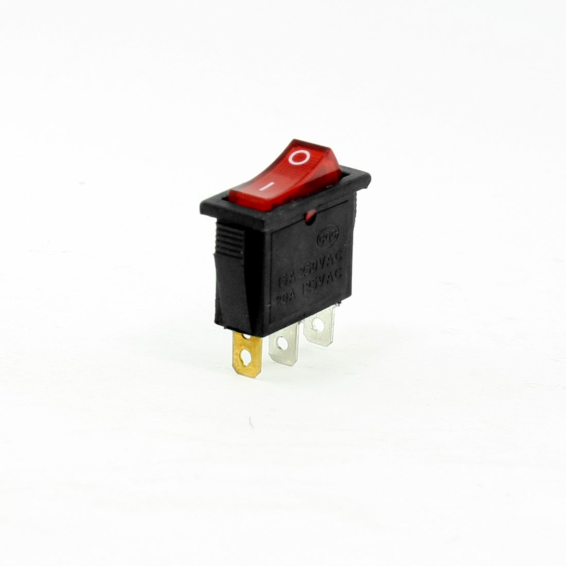 AC 250V/16A 125V/20A 3 Pins SPST I/O Red Light Snap in Boat Rocker Switch