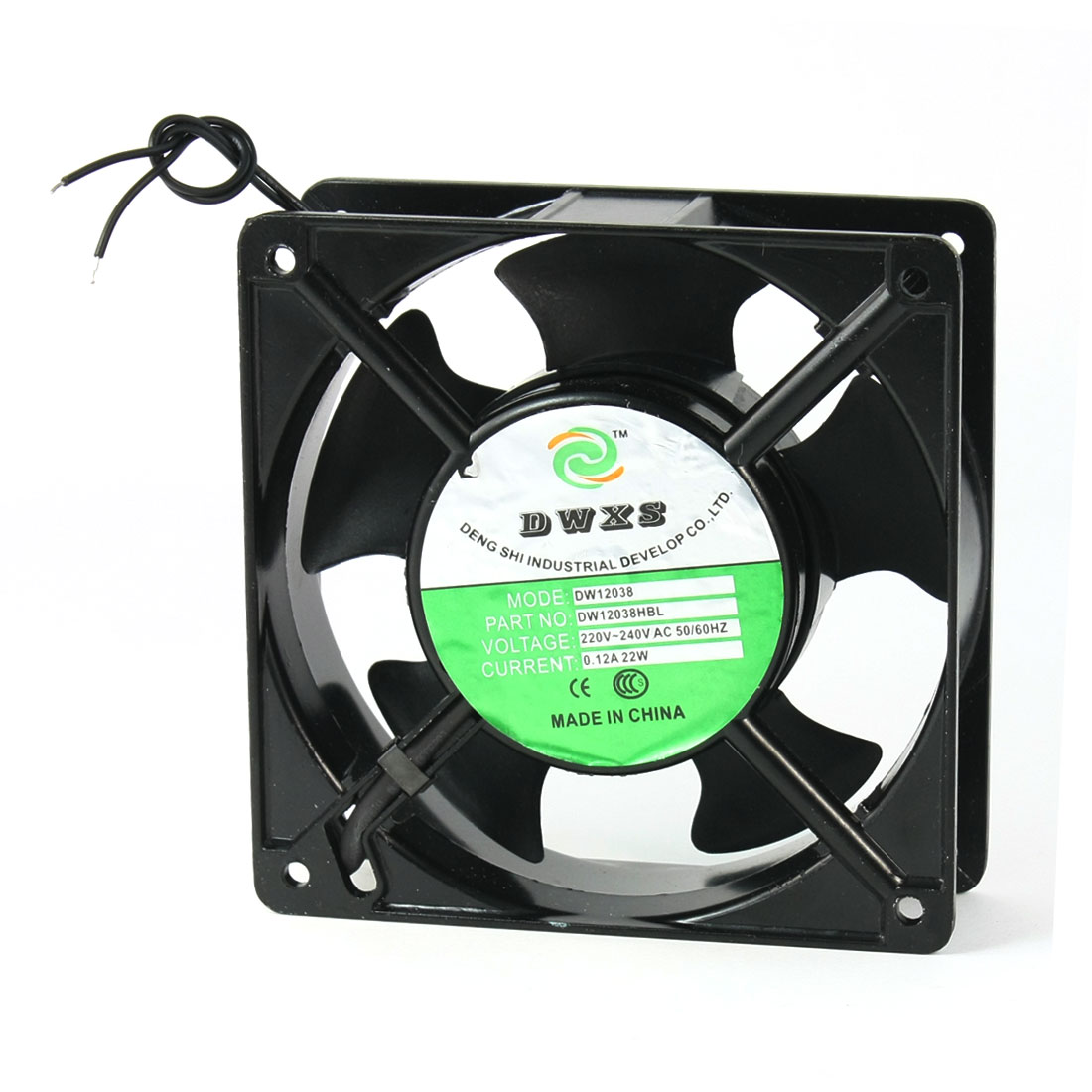 120x120x38mm 5 Vanes Metal Frame Axial Flow Cooling Fan AC 220/240V 0.12A 22W