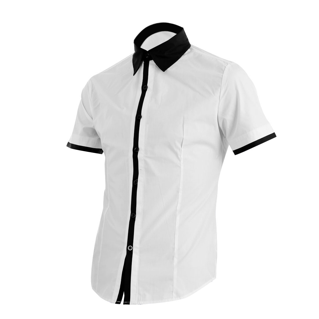 Men Point Collar Single Breasted Short Sleeve Splice Cuffs Shirt White M