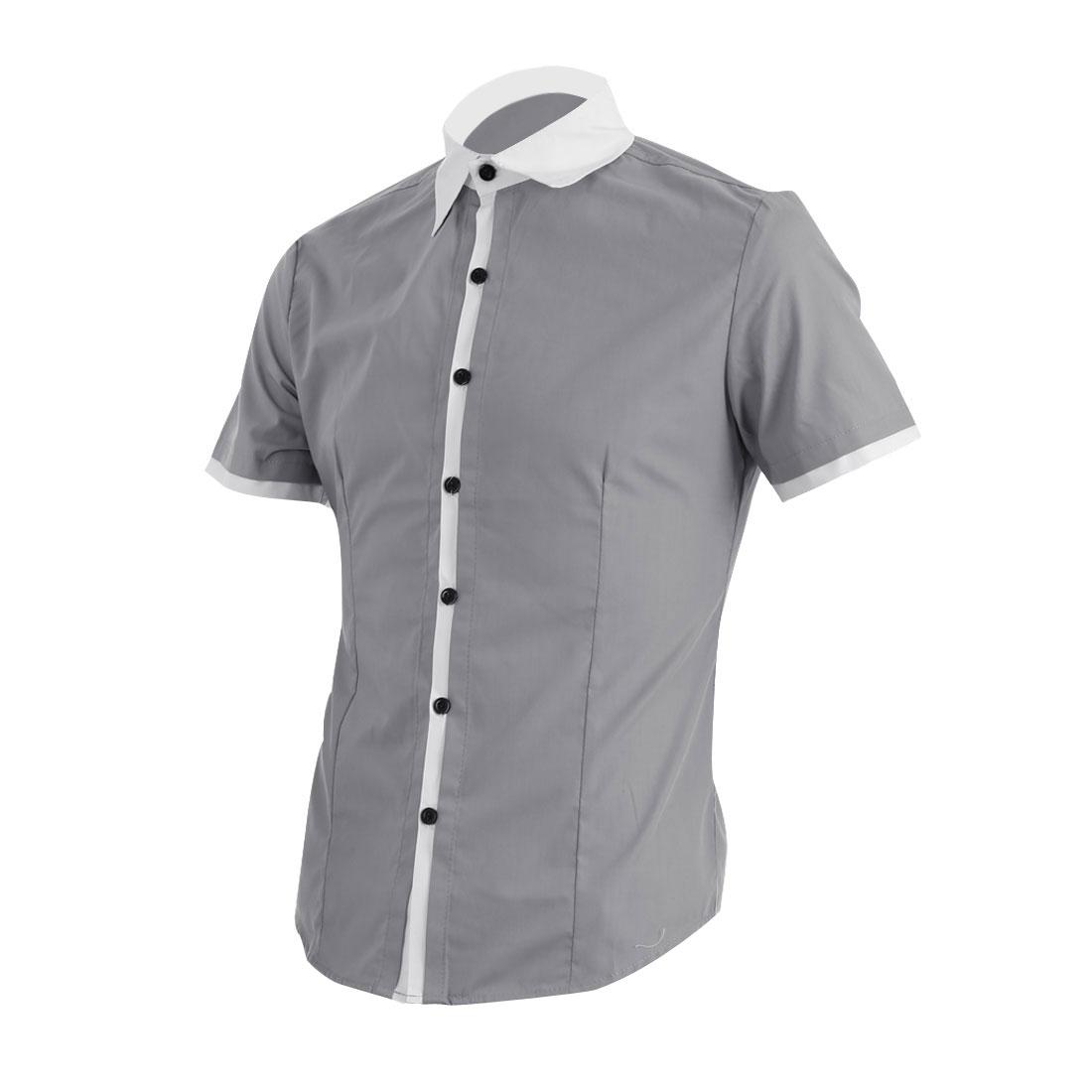 Men Point Collar Button Up Short Sleeve Casual Shirt Light Gray M