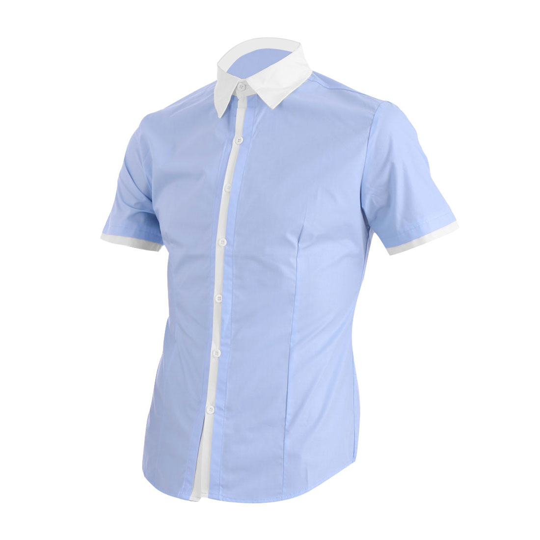 Men Point Collar Button Closure Short Sleeve Splice Shirt Light Blue M