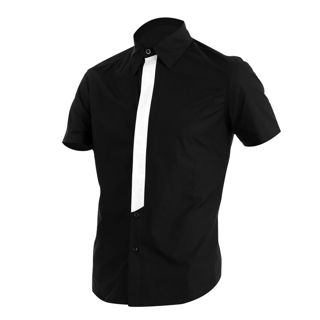 Men Point Collar Single Breasted Short Sleeve Round Hem Shirt Black M