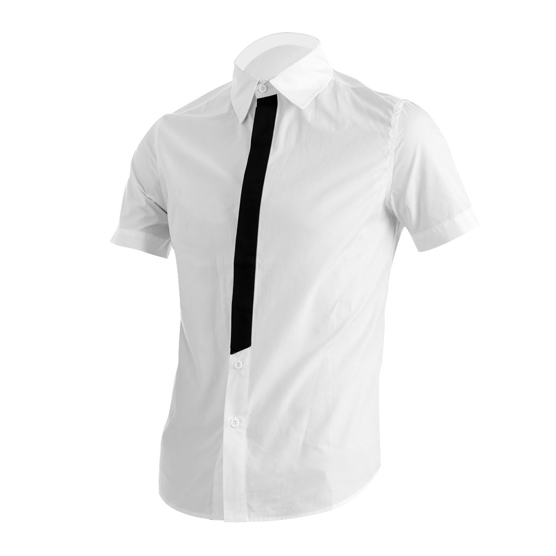 Men Point Collar Single Breasted Short Sleeve Panel Shirt White M