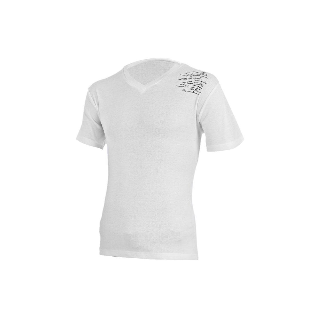 Mans V-Neckline Short Sleeve Letters Pattern Fashional White T-Shirt M