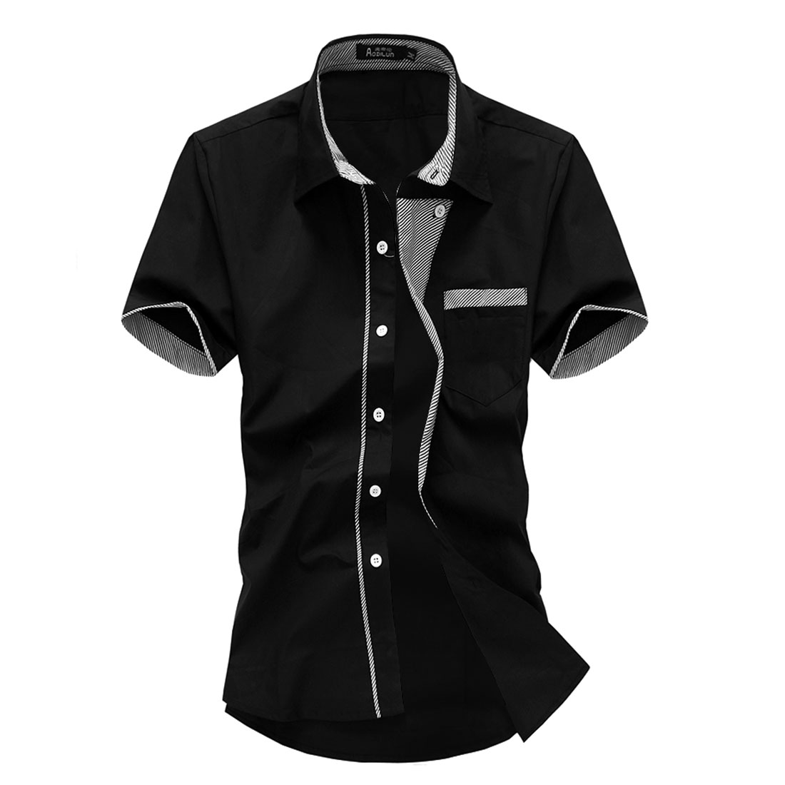 Men Point Collar Button Up Short Sleeve Chest Pocket Shirt Black M