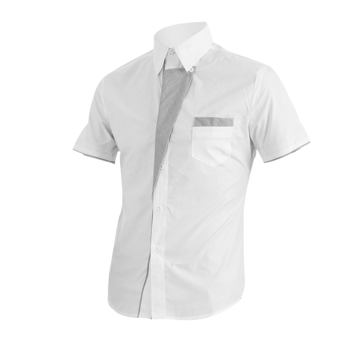 Men Point Collar Button Up Short Sleeve Stripes Decor Shirt White M