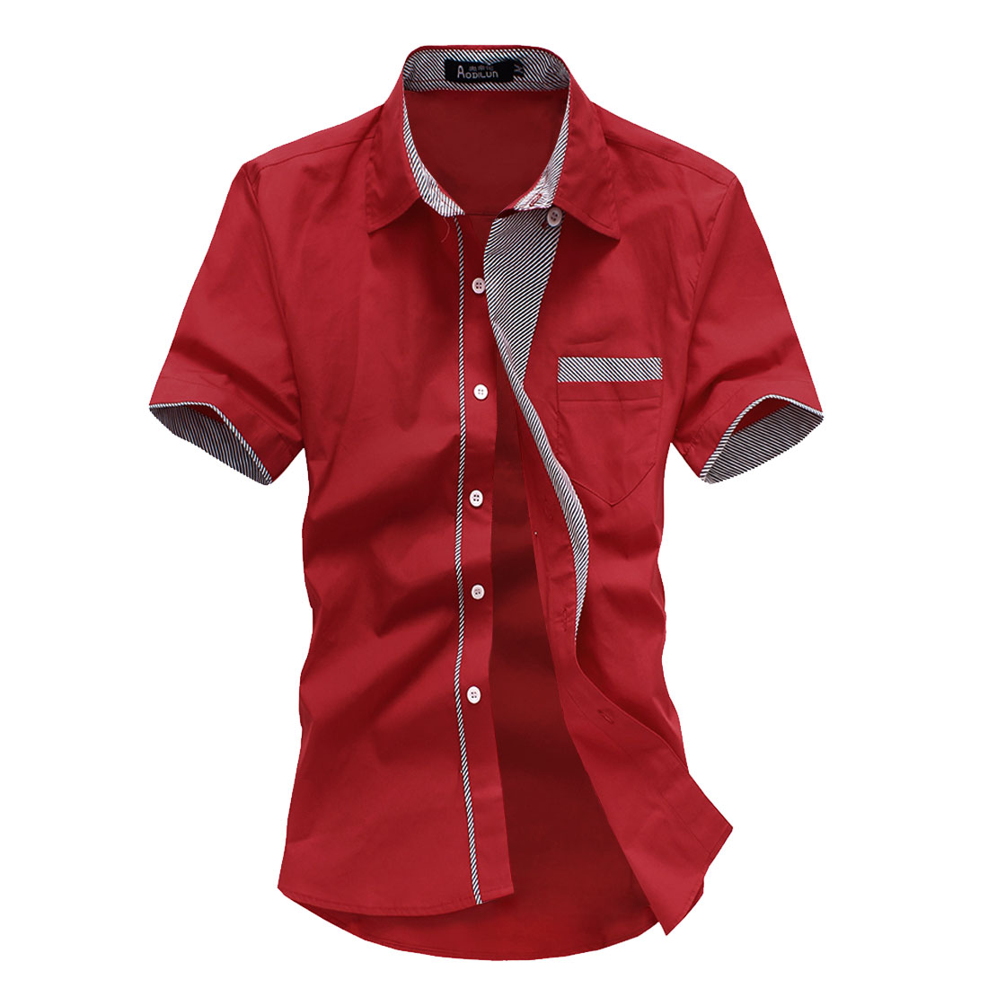 Men Point Collar Button Up Short Sleeve Summer Wearing Shirt Red M