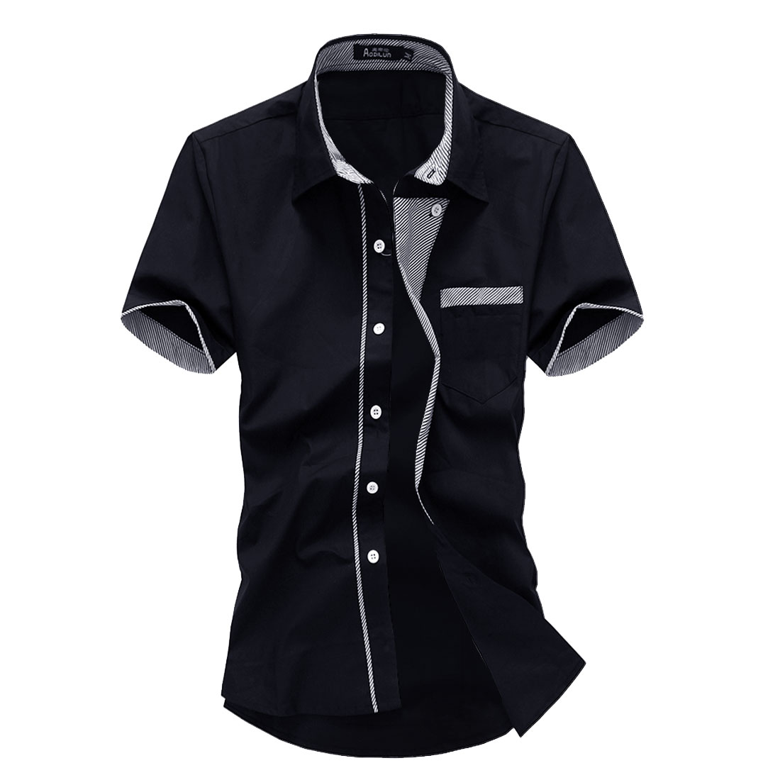 Men Point Collar Button Front Short Sleeve Round Hem Shirt Navy Blue M