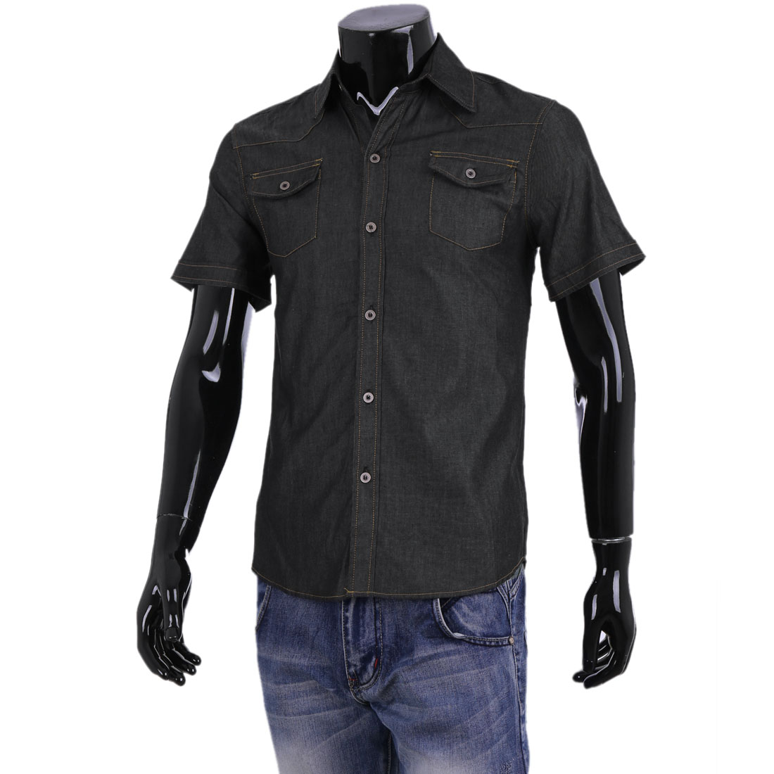 Men Point Collar Short Sleeve Single-Breasted Front Black Denim Shirt M