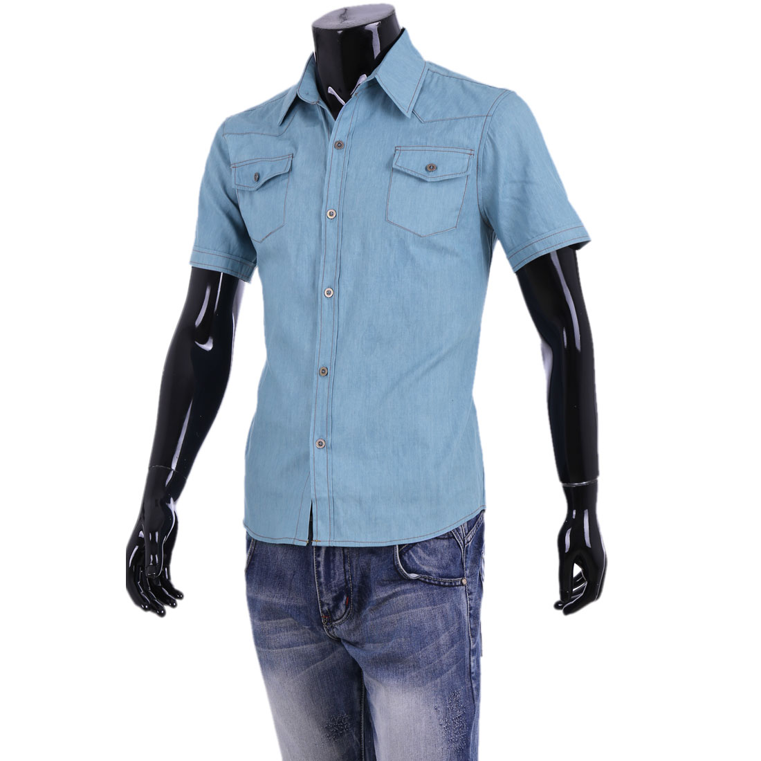 Men Chic Point Collar Short Sleeve Button Down Light Blue Denim Shirt M