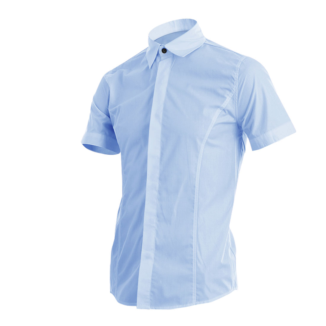 Man Short Sleeves Point Collar Solid Color Shirt Light Blue M