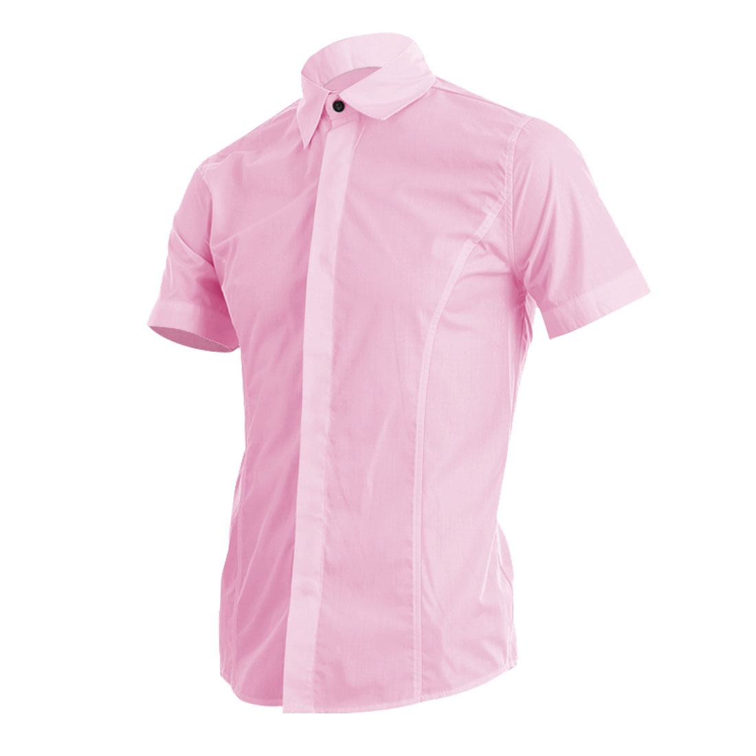 Man Buttoned Cuff Point Collar Solid Color Shirt Pink M