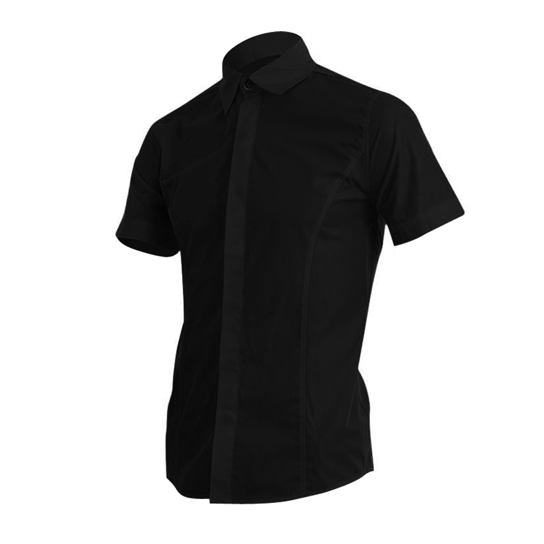 Men Stylish Short-sleeved Buttons Front Fashion Tops Black M