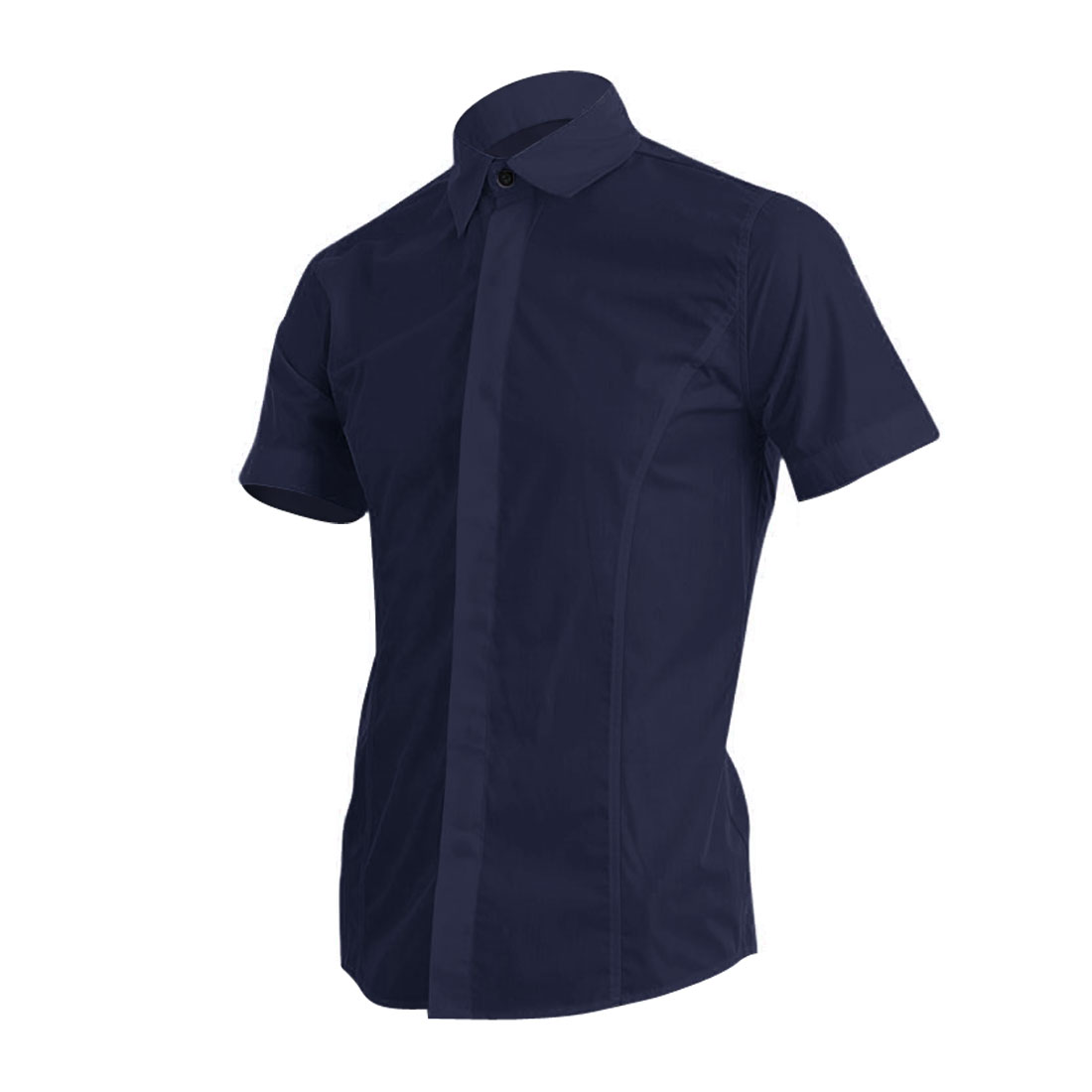 Man Solid Color Short Sleeve Point Collar Chic Shirt Dark Blue M