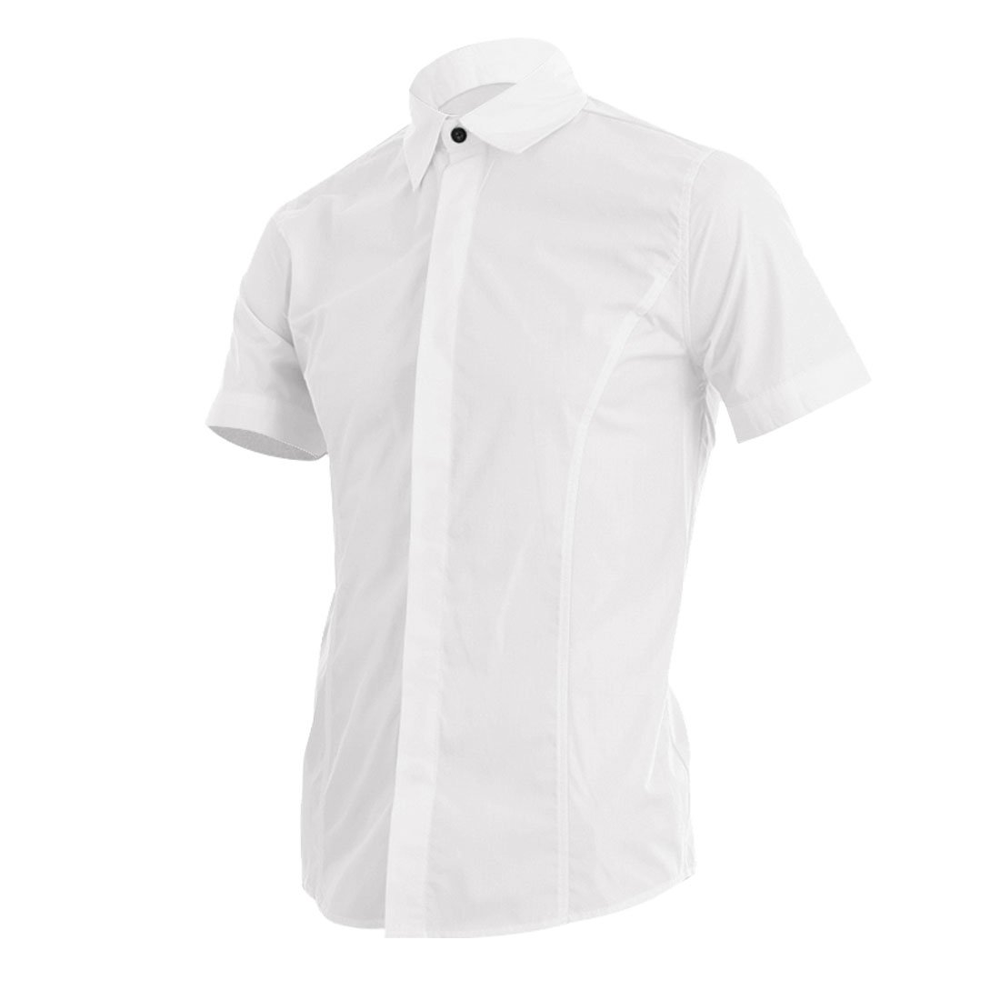 Men Single Breasted Buttoned Cuff Spring Stylish Top White M