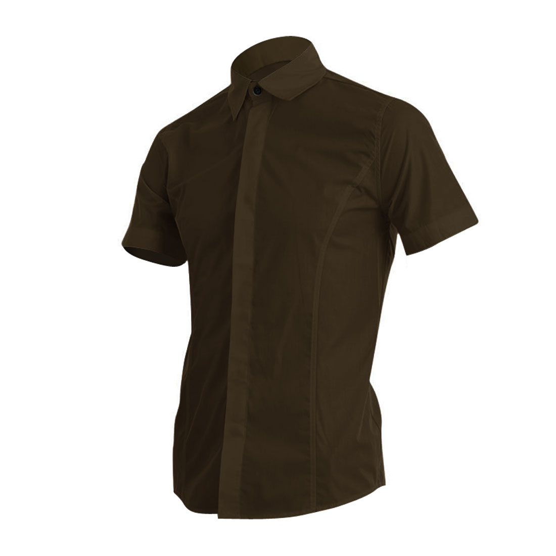 Men Buttons Front Stylish Short-sleeved Modern Shirt Coffee M