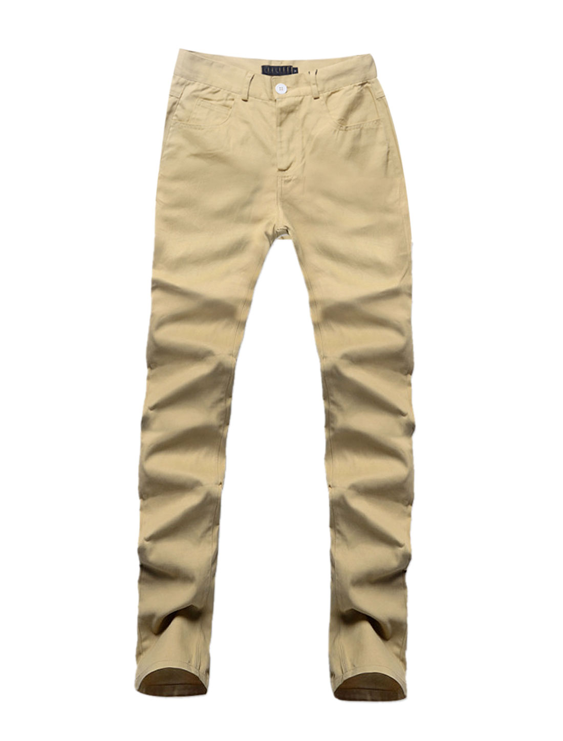 Men Waistband Loop Pockets Buttoned Closure Casual Pants Khaki W30